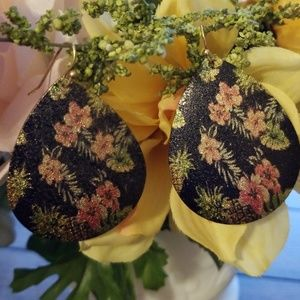 Teardrop Floral Black Earrings